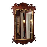 18th c English Chippendale Mahogany Looking Glass or Mirror