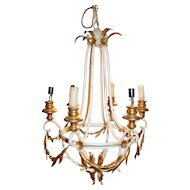 Swedish Six Light Gilt and Painted Chandelier