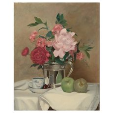 Sydney Thomas Still Life Oil Painting - Demitasse with Peonies