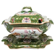 19th c G.L. Ashworth & Bros English Ironstone Covered Tureen with Underplate