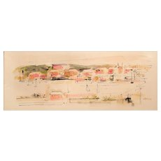 Alfred Birdsey Modernist Watercolor Painting of a Bermuda Harbor