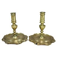 Pair of Early Spanish Brass Candlesticks, circa 1680