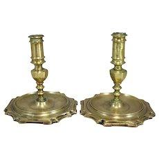 Pair of Early Spanish Brass Candlesticks, circa 1680