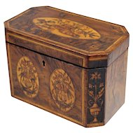 Exceptional George III Burled Walnut Tea Caddy with Marquetry