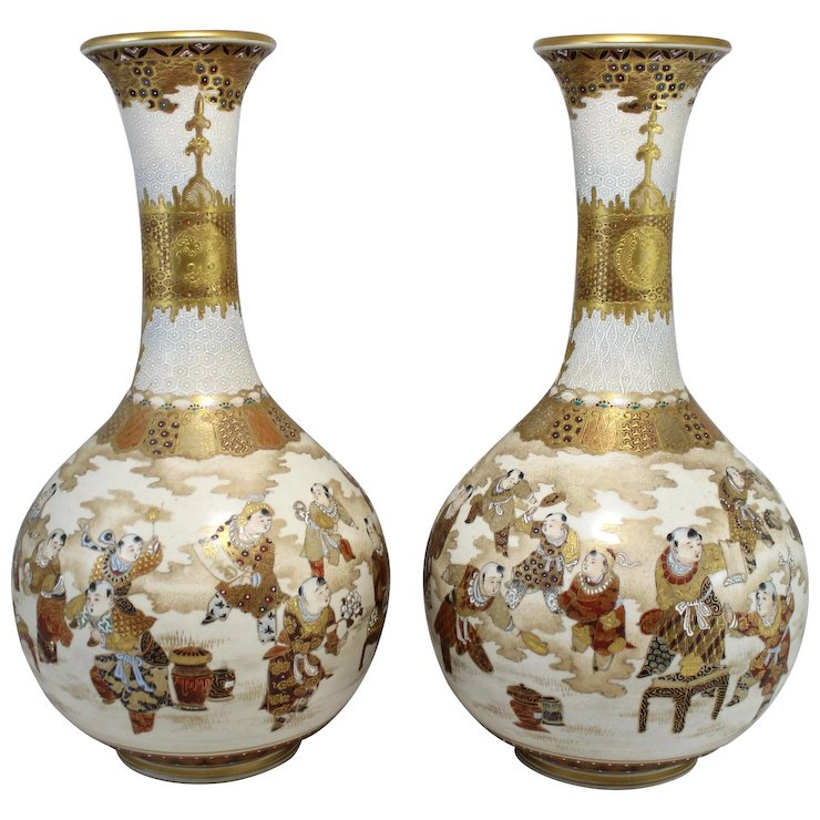 Pair Of Late 19th Century Japanese Satsuma Vases With Figural New