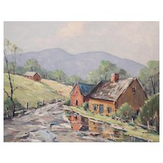Robert Shaw Wesson Oil Painting of New England Country Landscape with Cottage & Barn