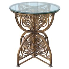 Scrolled Iron Art Deco Gilt Occasional Table