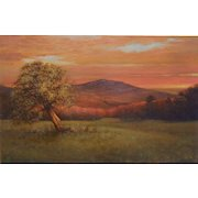 Dennis Sheehan Landscape Oil Painting - Sunset View of Mount Monadnock