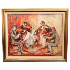 William Meyerowitz Modernist Oil Painting of a Musical String Quartet