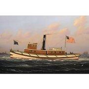 """William R. Davis Marine Oil Painting - Boston Harbor Tugboat """"Leader"""" Built 1881"""