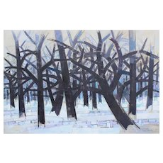 Gabor Peterdi Modernist Oil Painting - Winter II