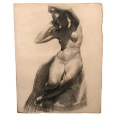John Stockton De Martelly Charcoal Drawing of a Nude Woman