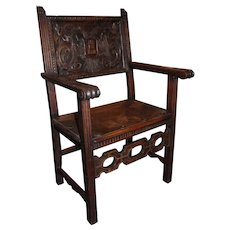 19th c Continental Arm Chair with Carved Crest