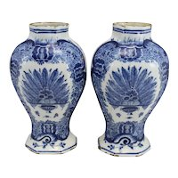 Pair of 19th c Dutch Delftware Blue & White Foliate Decorated Garnitures