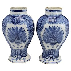 Pair of 19th c Dutch Delftware Blue & White Foliate Decorated Garnitures