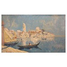 Paul LeDuc Oil Painting of a Venetian Harbor Scene
