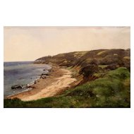 Carl Frederic Aagaard Oil Painting Coastal Scene of  Æbelø (Apple Island) Denmark