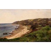 Carl Frederic Aagaard Oil Painting Coastal Scene of  Æbelø (Apple Island) Denmark