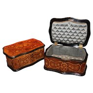 Pair of 19th Century French Marquetry Boxes with Silk Interiors