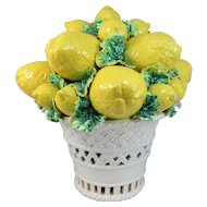 Italian Majolica Ceramic Reticulated Basket of Lemons