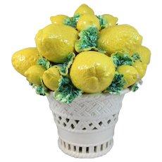 Italian Majolica Ceramic Reticulated Basket of Lemons