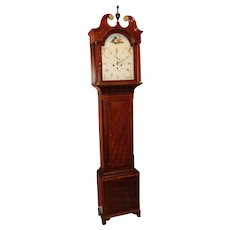 Early 19th c W. Hall Mahogany Tall Clock -  North Shields, Scotland