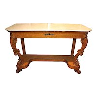 19th Century Biedermeier Marble-Top Console