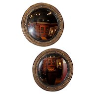 Pair of Custom Convex Girandole Giltwood Mirrors