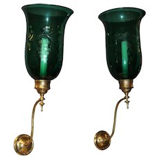 Rare Pair of 19th Century Emerald Etched Glass and Brass Wall Sconces