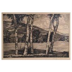 Luigi Lucioni Vermont Landscape Etching - Whites and Shadows 1949