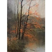 William R. Davis Landscape Oil Painting - Falling Leaves