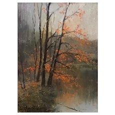William R. Davis Landscape Oil Painting - Falling Leaves