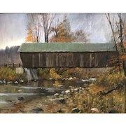 William R. Davis Oil Painting - Lincoln Covered Bridge, Ottauquechee River, West Woodstock VT