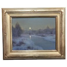 William R. Davis Tonalist Winter Landscape Oil Painting - Frosty Morning