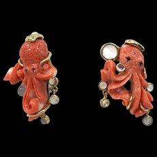 Pair of 18-Karat Marilyn Cooperman Coral Octopus Earrings