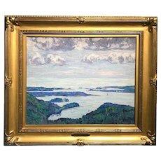 Allen Tucker Coastal Landscape Oil Painting - Mount Desert Island Maine 1914