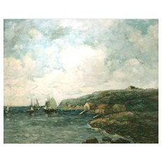 Paul Bernard King Coastal Marine Oil Painting - Harbor Scene