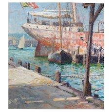 George Loftus Noyes Marine Oil Painting - Boats at Dock