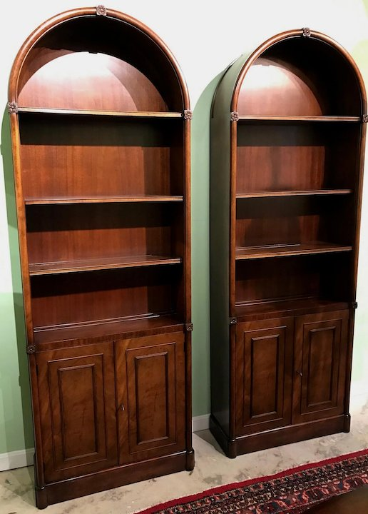 Pair Of Mahogany Kaplan Furniture Beacon Hill Arched Bookcases Or China  Cabinets