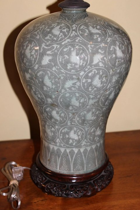 19th Century Korean Celadon Vase Lamp In Meiping Form New