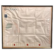 Framed English Indenture Document with Map, dated 1855