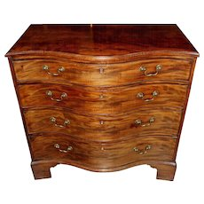 18th Century Georgian Mahogany Four-Drawer Serpentine Chest