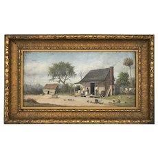 William Aiken Walker Oil Painting of a Southern Cabin Scene
