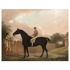 Clifton Tomson Equestrian Oil Painting of Horse and Jockey, Nottingham, 1809