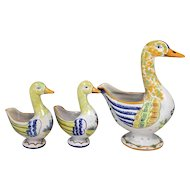 Rare Set of Three Quimper Polychrome Faience Duck Planters / Vases