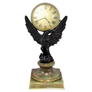 Rare 19th / 20th c  Cast Bronze Eagle Ball Clock