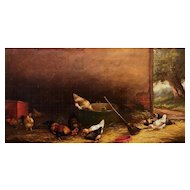 J. D. Sovver Oil Painting of a Barnyard Scene with Chickens 1880