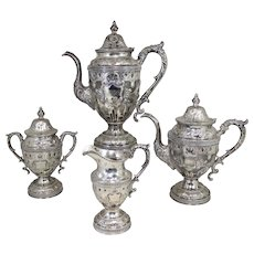 19th c William Gale & Son NY Four Piece Coin Silver Tea Service