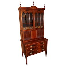 Massachusetts Federal Three Part Mahogany Secretary with Églomisé