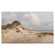 Horace P. Giles Coastal Oil Painting - Salisbury Beach MA 1898